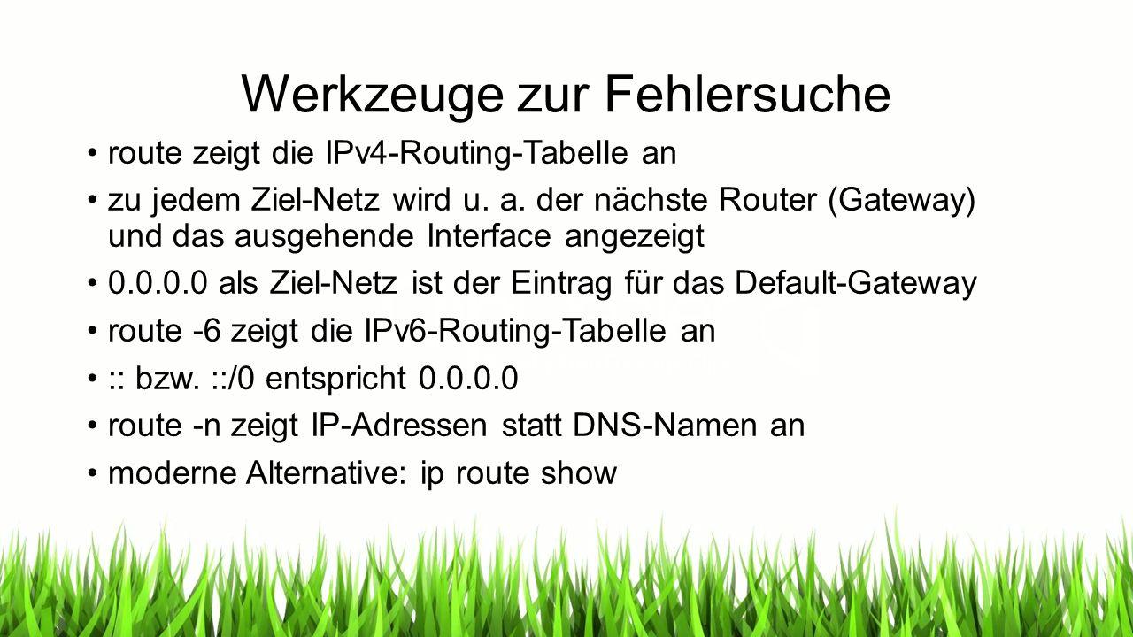 Werkzeuge zur Fehlersuche route zeigt die IPv4-Routing-Tabelle an zu jedem Ziel-Netz wird u.