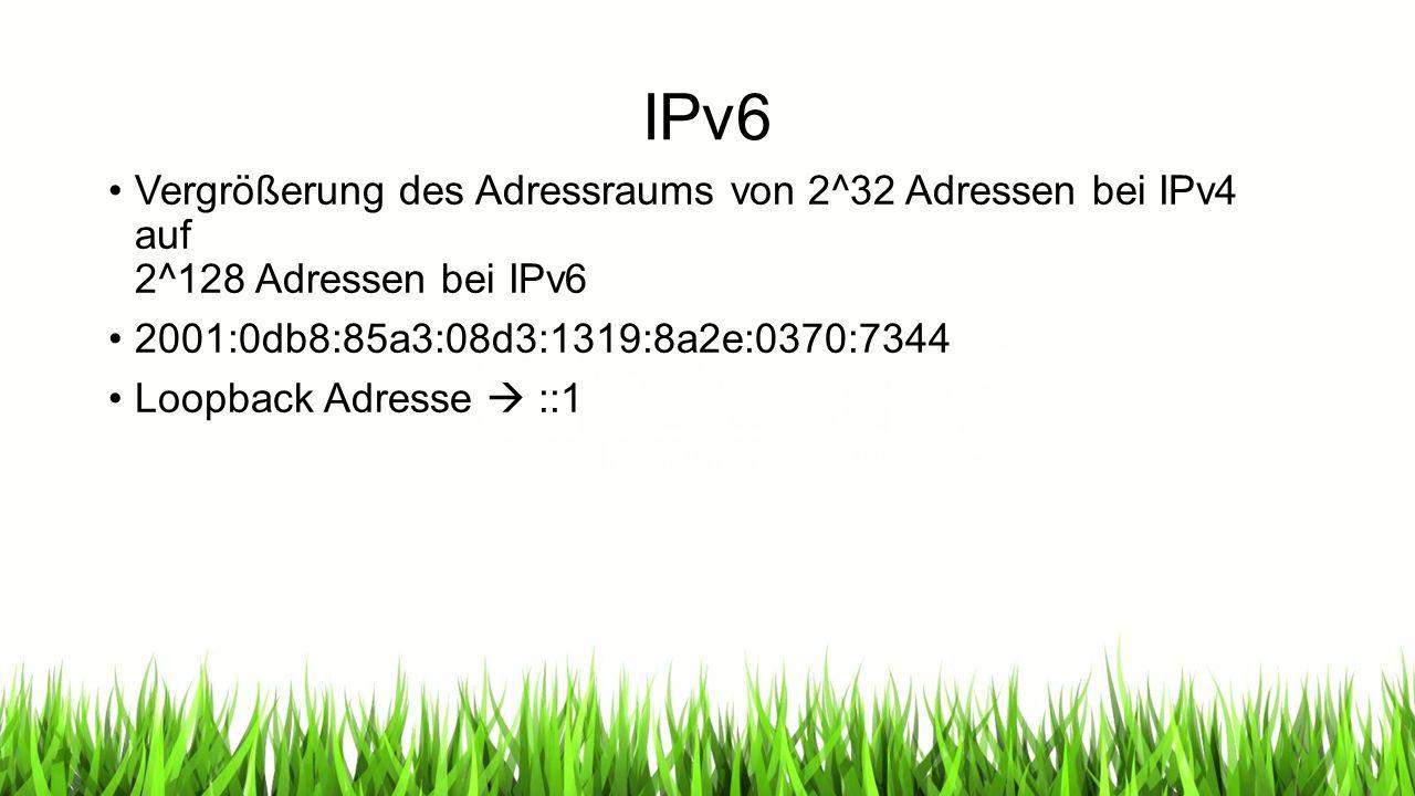 IPv6 Vergrößerung des Adressraums von 2^32 Adressen bei IPv4 auf 2^128 Adressen bei IPv6 2001:0db8:85a3:08d3:1319:8a2e:0370:7344 Loopback Adresse  ::1