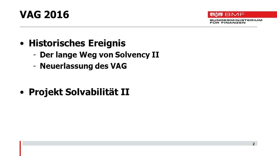 VAG 2016 Historisches Ereignis -Der lange Weg von Solvency II -Neuerlassung des VAG Projekt Solvabilität II 2