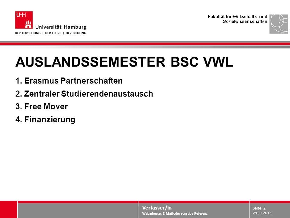 Verfasser/in Webadresse, E-Mail oder sonstige Referenz AUSLANDSSEMESTER BSC VWL 1. Erasmus Partnerschaften 2. Zentraler Studierendenaustausch 3. Free