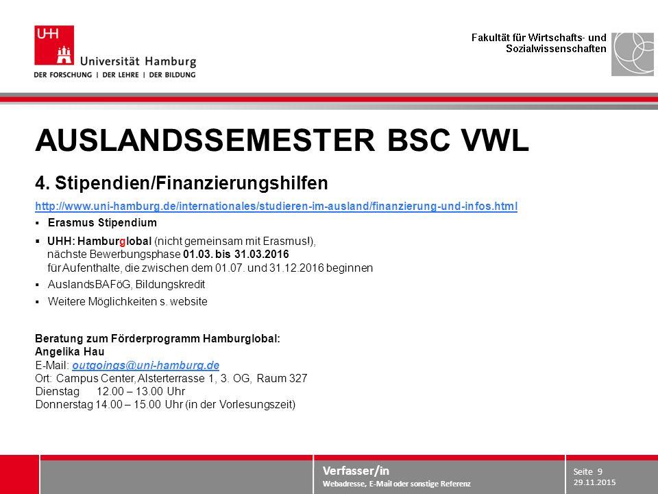 Verfasser/in Webadresse, E-Mail oder sonstige Referenz AUSLANDSSEMESTER BSC VWL 4. Stipendien/Finanzierungshilfen http://www.uni-hamburg.de/internatio