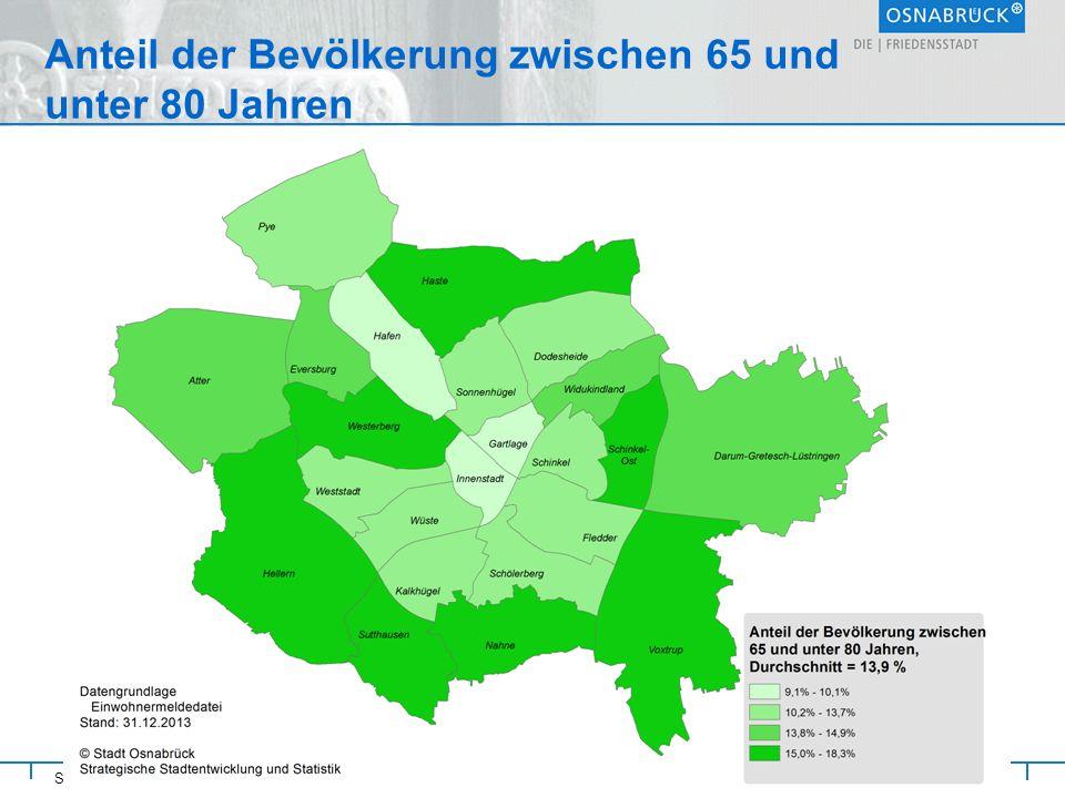 Stadt Osnabrück Anteil der Bevölkerung zwischen 65 und unter 80 Jahren Referat Strategische Steuerung und Rat 19.
