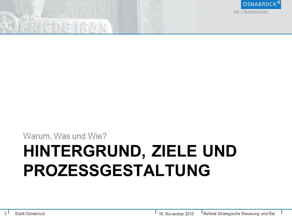 Stadt Osnabrück HINTERGRUND, ZIELE UND PROZESSGESTALTUNG Warum, Was und Wie.