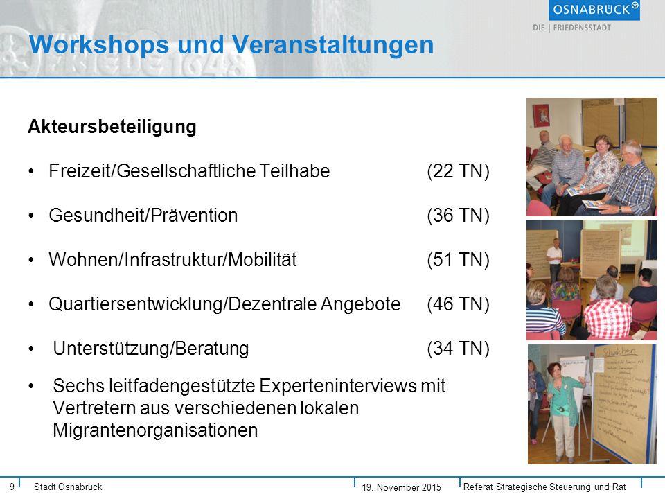 9 Stadt Osnabrück Workshops und Veranstaltungen Akteursbeteiligung Freizeit/Gesellschaftliche Teilhabe (22 TN) Gesundheit/Prävention (36 TN) Wohnen/Infrastruktur/Mobilität(51 TN) Quartiersentwicklung/Dezentrale Angebote (46 TN) Unterstützung/Beratung (34 TN) Sechs leitfadengestützte Experteninterviews mit Vertretern aus verschiedenen lokalen Migrantenorganisationen Referat Strategische Steuerung und Rat 19.