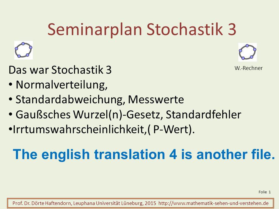 Seminarplan Stochastik 3 Prof.Dr.