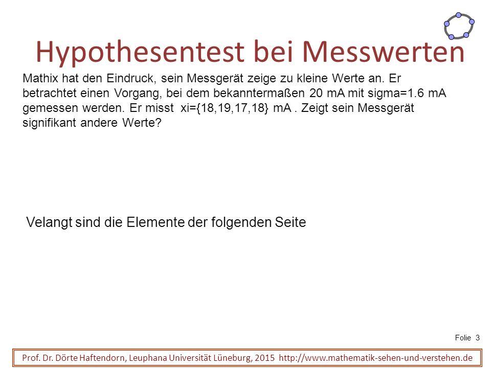 Hypothesentest bei Messwerten Prof.Dr.