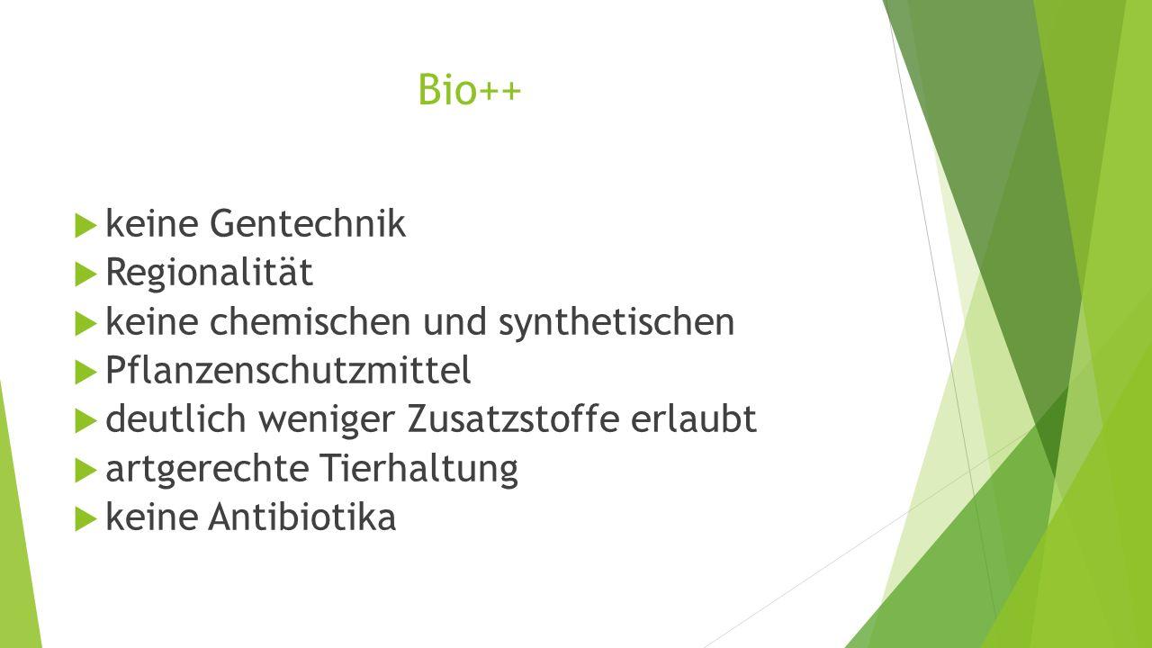 Bio++  keine Gentechnik  Regionalität  keine chemischen und synthetischen  Pflanzenschutzmittel  deutlich weniger Zusatzstoffe erlaubt  artgerec