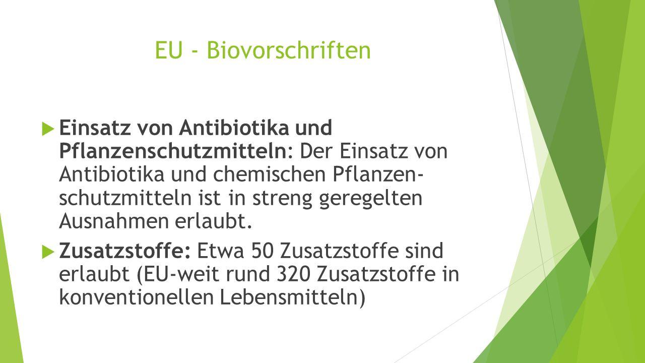 EU - Biovorschriften  Einsatz von Antibiotika und Pflanzenschutzmitteln: Der Einsatz von Antibiotika und chemischen Pflanzen- schutzmitteln ist in st