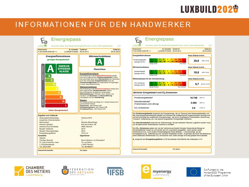 Co-Funded by the Horizon2020 Programme of the European Union INFORMATIONEN FÜR DEN HANDWERKER