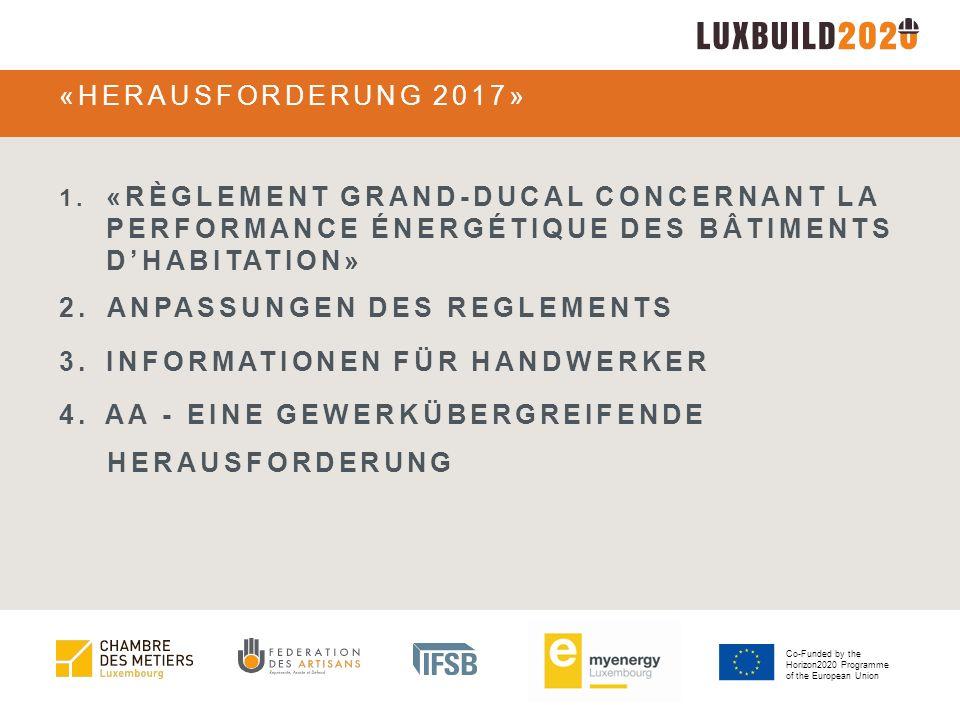 Co-Funded by the Horizon2020 Programme of the European Union RDG CONCERNANT LA PERFORMANCE ÉNERGÉTIQUE DES BÂTIMENTS D'HABITATION Wo führt der Weg hin?