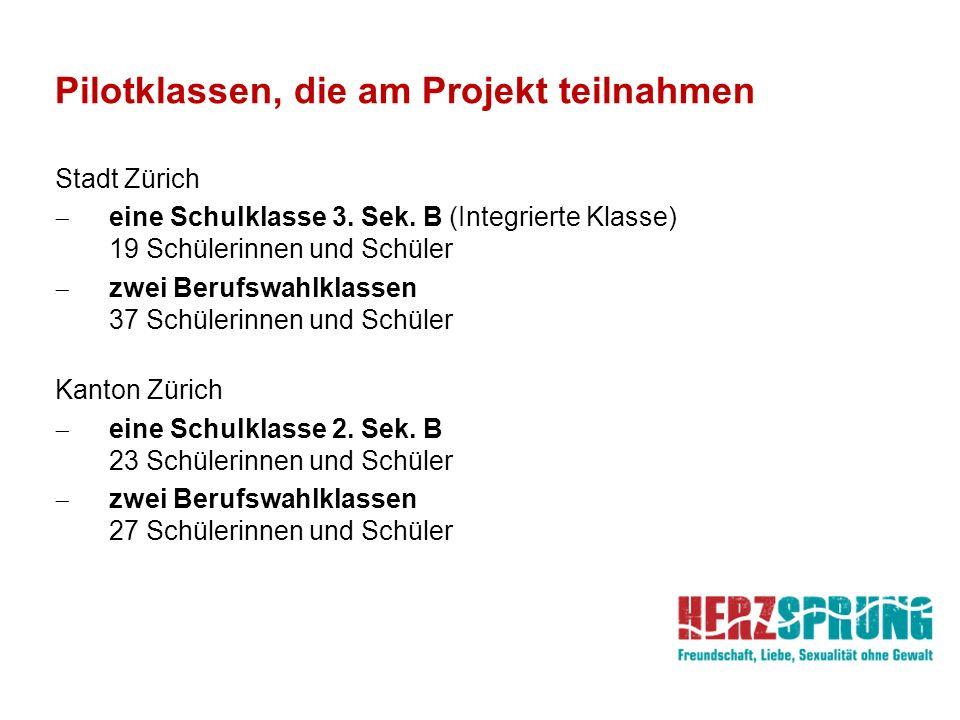 Pilotklassen, die am Projekt teilnahmen Stadt Zürich  eine Schulklasse 3. Sek. B (Integrierte Klasse) 19 Schülerinnen und Schüler  zwei Berufswahlkl