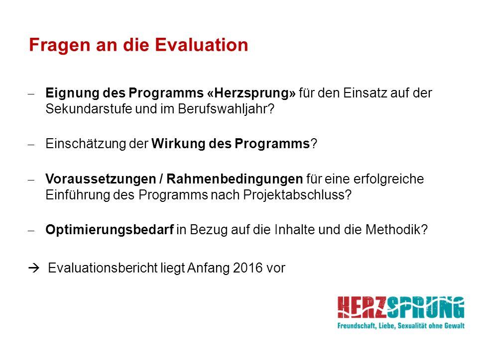 Fragen an die Evaluation  Eignung des Programms «Herzsprung» für den Einsatz auf der Sekundarstufe und im Berufswahljahr?  Einschätzung der Wirkung