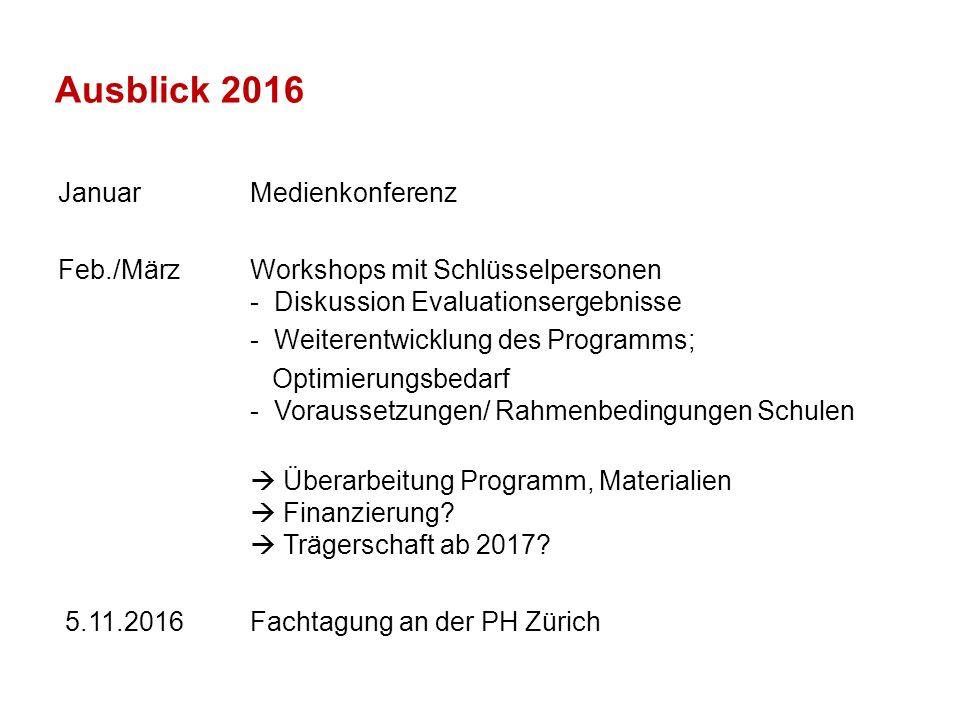 Ausblick 2016 JanuarMedienkonferenz Feb./März Workshops mit Schlüsselpersonen - Diskussion Evaluationsergebnisse - Weiterentwicklung des Programms; Op