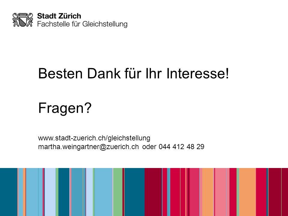 Besten Dank für Ihr Interesse! Fragen? www.stadt-zuerich.ch/gleichstellung martha.weingartner@zuerich.ch oder 044 412 48 29