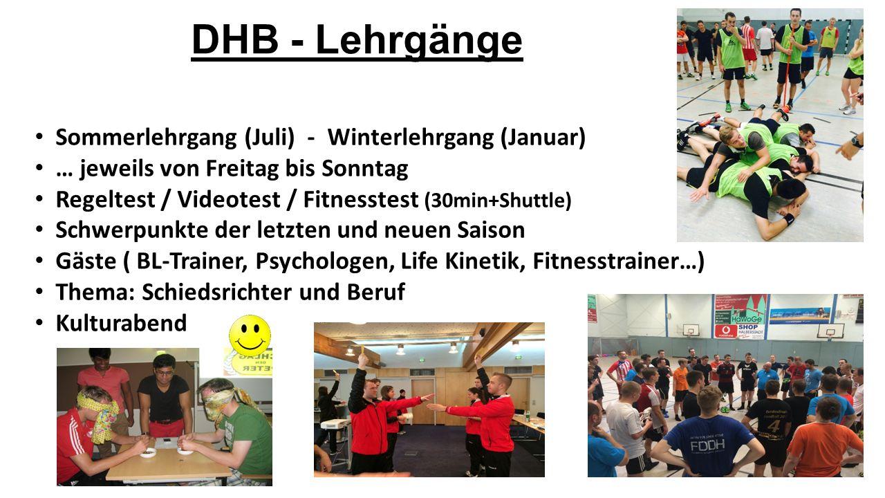 DHB - Lehrgänge Sommerlehrgang (Juli) - Winterlehrgang (Januar) … jeweils von Freitag bis Sonntag Regeltest / Videotest / Fitnesstest (30min+Shuttle)