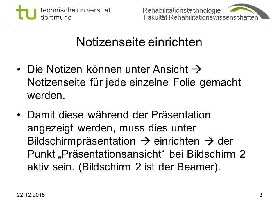 Rehabilitationstechnologie Fakultät Rehabilitationswissenschaften Screenshot Notizen 22.12.201510