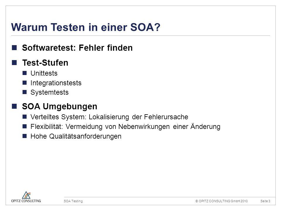 © OPITZ CONSULTING GmbH 2010Seite 14SOA Testing Konstruktionsraster 20mm 4mm OPITZ CONSULTING Vorlage Powerpoint 2009; Version 1.0; 02.09.2009; TGA, MVI, JWI Titel und Inhalt: Dies ist das Haupttemplate für Inhaltsseiten.