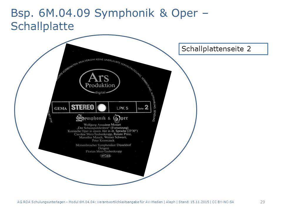 Bsp. 6M.04.09 Symphonik & Oper – Schallplatte AG RDA Schulungsunterlagen – Modul 6M.04.04: Verantwortlichkeitsangabe für AV-Medien   Aleph   Stand: 15