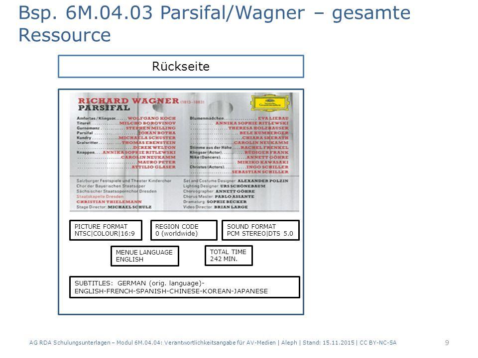 AG RDA Schulungsunterlagen – Modul 6M.04.04: Verantwortlichkeitsangabe für AV-Medien   Aleph   Stand: 15.11.2015   CC BY-NC-SA Vorderseite Bsp.