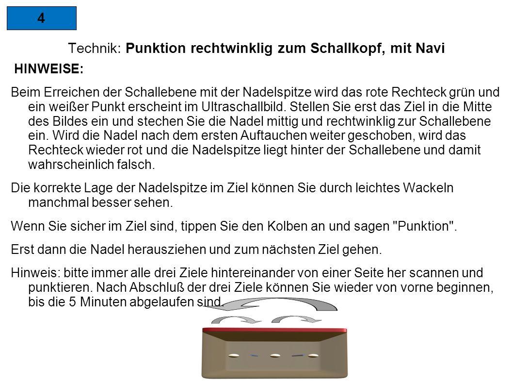 4 Technik: Punktion rechtwinklig zum Schallkopf, mit Navi HINWEISE: Beim Erreichen der Schallebene mit der Nadelspitze wird das rote Rechteck grün und ein weißer Punkt erscheint im Ultraschallbild.