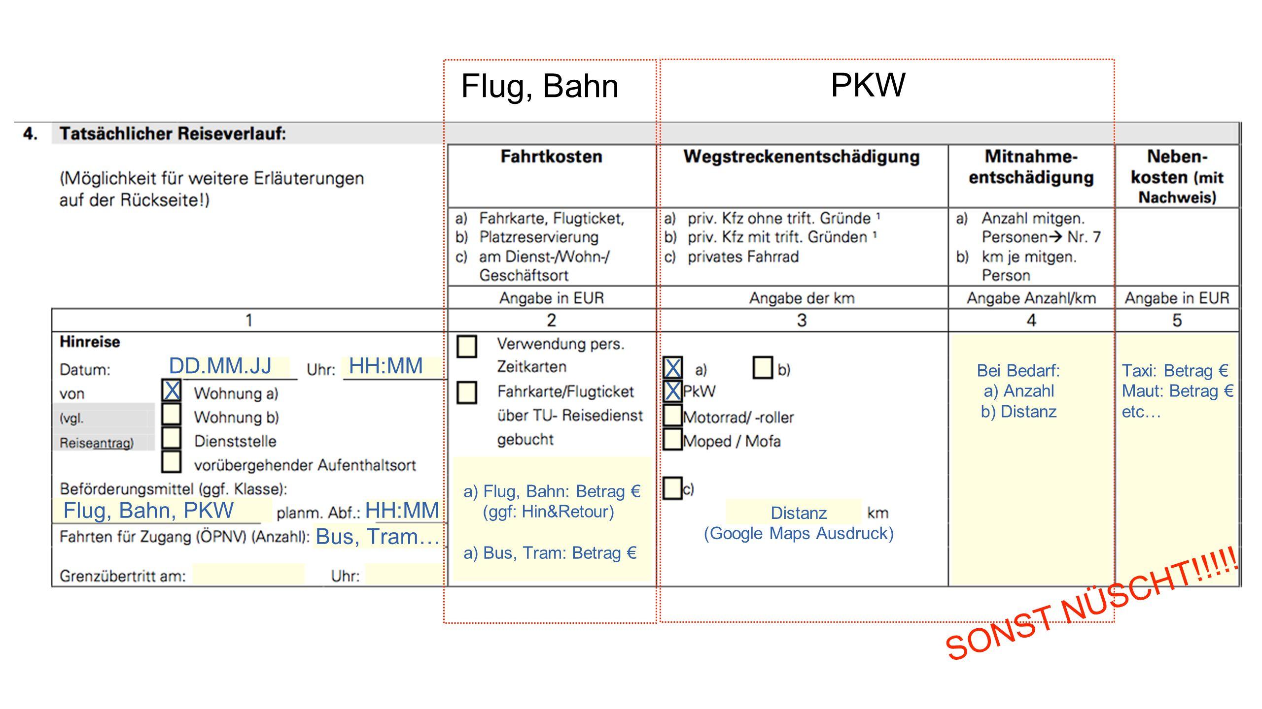 PKW DD.MM.JJHH:MM X Flug, Bahn, PKWHH:MM Bus, Tram… Flug, Bahn a) Flug, Bahn: Betrag € (ggf: Hin&Retour) a) Bus, Tram: Betrag € X X Distanz (Google Maps Ausdruck) Bei Bedarf: a) Anzahl b) Distanz Taxi: Betrag € Maut: Betrag € etc… SONST NÜSCHT!!!!!
