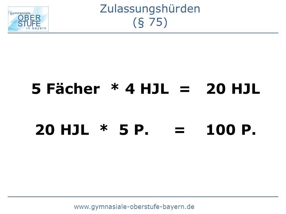 www.gymnasiale-oberstufe-bayern.de Zulassungshürden (§ 75) 5 Fächer * 4 HJL = 20 HJL 20 HJL * 5 P.