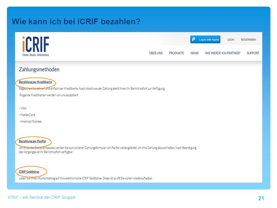 """21 Wie kann ich bei iCRIF bezahlen. Klicken Sie auf den Menüpunkt """"Login ."""