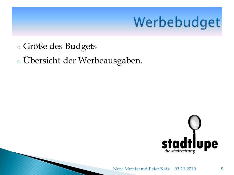 o Größe des Budgets o Übersicht der Werbeausgaben. 03.11.2010 Nora Moritz und Peter Katz 8