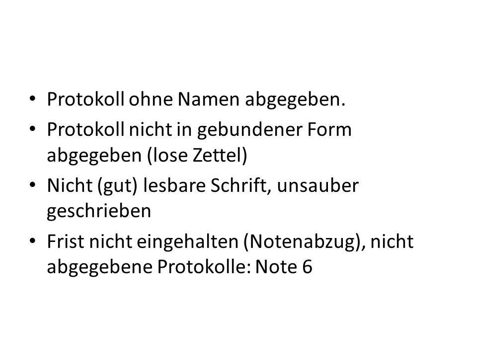 Protokoll ohne Namen abgegeben. Protokoll nicht in gebundener Form abgegeben (lose Zettel) Nicht (gut) lesbare Schrift, unsauber geschrieben Frist nic