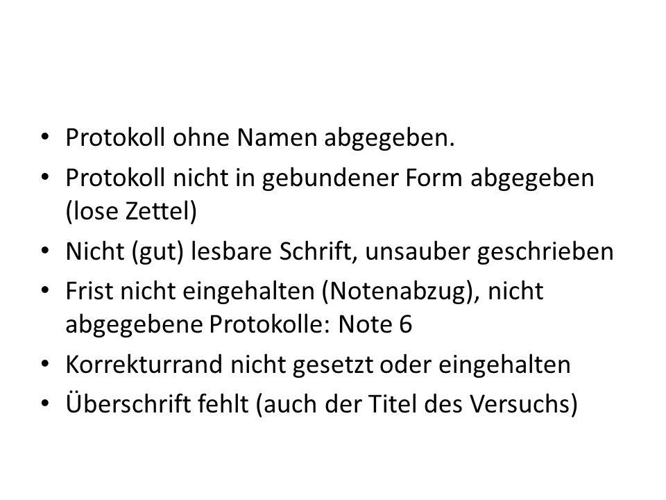 Inhaltliche Mängel Protokollstruktur nicht eingehalten (Protokollteile vergessen)