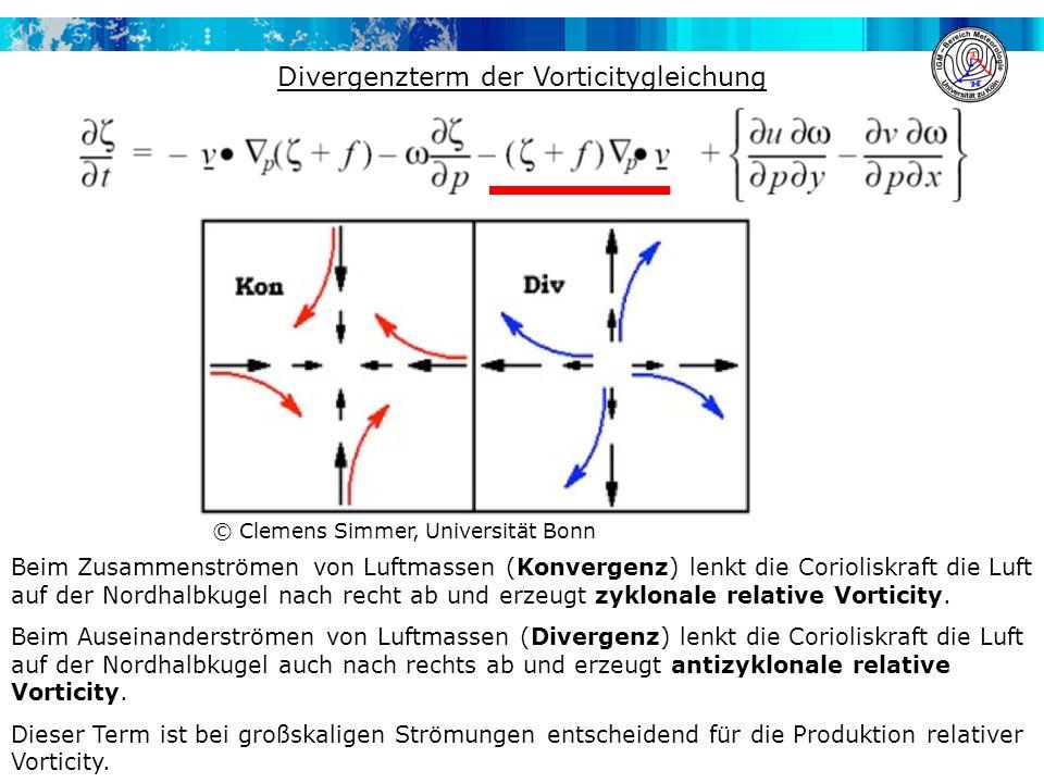 Divergenzterm der Vorticitygleichung Beim Zusammenströmen von Luftmassen (Konvergenz) lenkt die Corioliskraft die Luft auf der Nordhalbkugel nach recht ab und erzeugt zyklonale relative Vorticity.