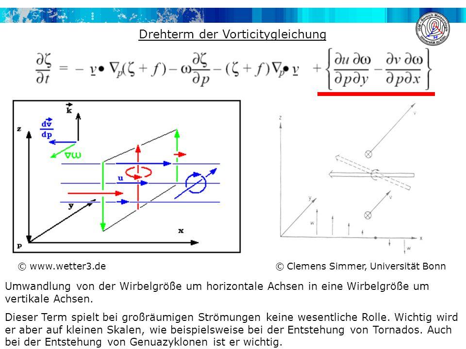 Drehterm der Vorticitygleichung Umwandlung von der Wirbelgröße um horizontale Achsen in eine Wirbelgröße um vertikale Achsen.