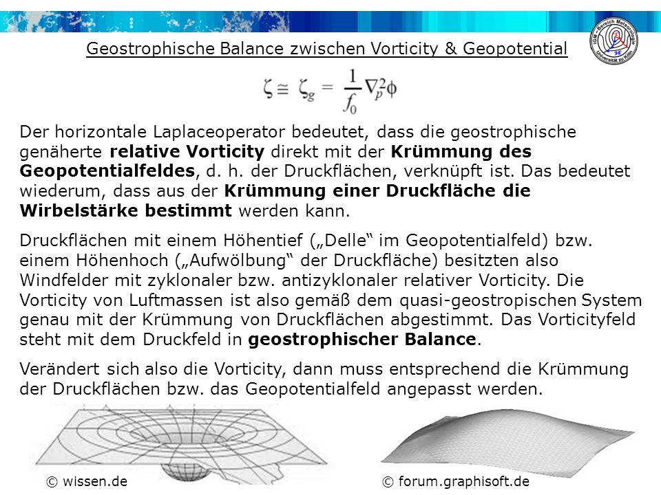 Der horizontale Laplaceoperator bedeutet, dass die geostrophische genäherte relative Vorticity direkt mit der Krümmung des Geopotentialfeldes, d.