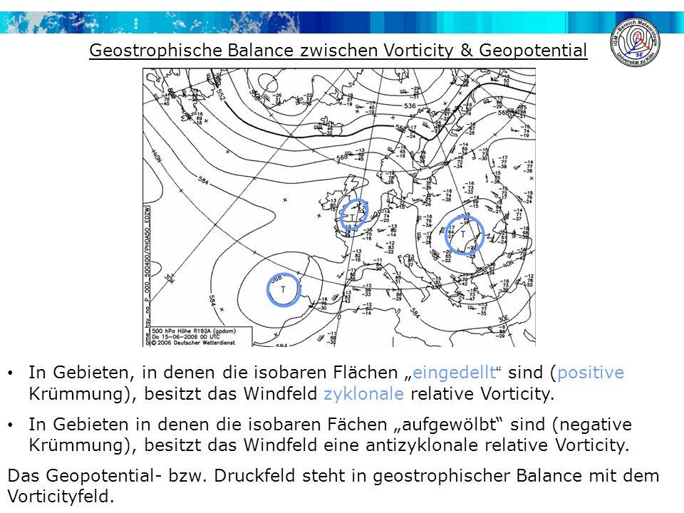 """In Gebieten, in denen die isobaren Flächen """"eingedellt sind (positive Krümmung), besitzt das Windfeld zyklonale relative Vorticity."""