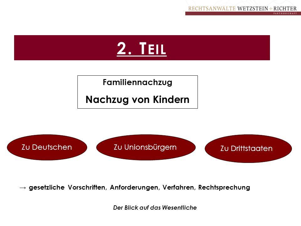 2. T EIL Familiennachzug Nachzug von Kindern Zu DeutschenZu Unionsbürgern Zu Drittstaaten → gesetzliche Vorschriften, Anforderungen, Verfahren, Rechts