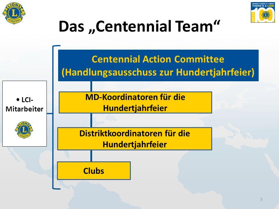 "Das ""Centennial Team 3 Centennial Action Committee (Handlungsausschuss zur Hundertjahrfeier) MD-Koordinatoren für die Hundertjahrfeier Distriktkoordinatoren für die Hundertjahrfeier Clubs LCI- Mitarbeiter"