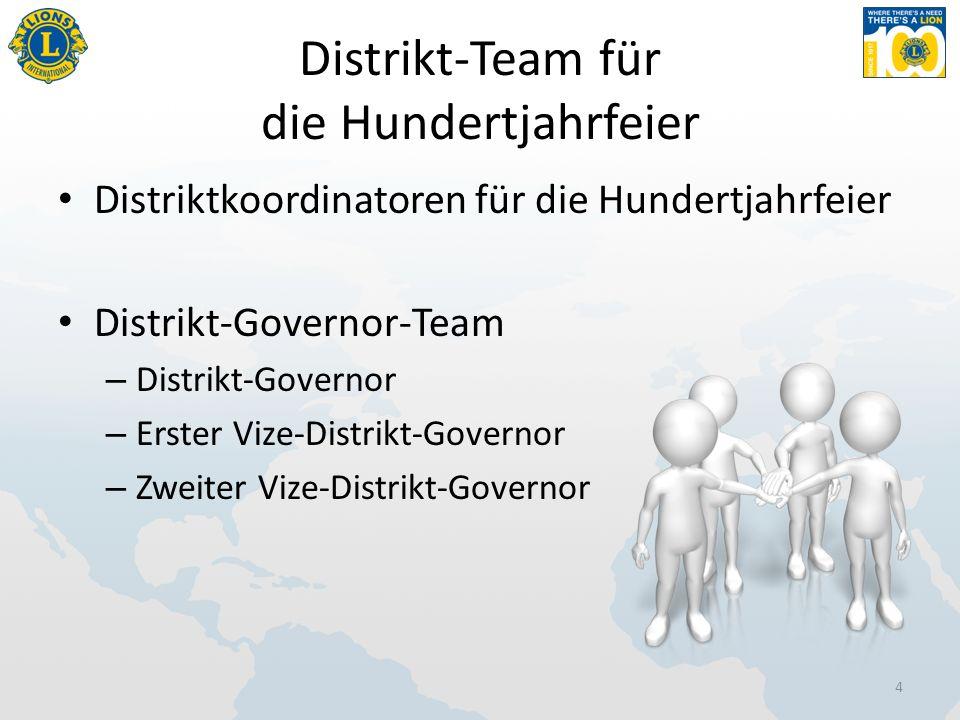 Distrikt-Team für die Hundertjahrfeier Distriktkoordinatoren für die Hundertjahrfeier Distrikt-Governor-Team – Distrikt-Governor – Erster Vize-Distrikt-Governor – Zweiter Vize-Distrikt-Governor 4