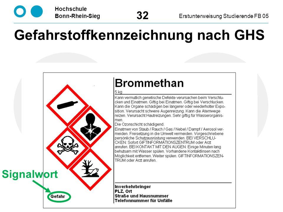 Hochschule Bonn-Rhein-SiegErstunterweisung Studierende FB 05 32 Signalwort Gefahrstoffkennzeichnung nach GHS