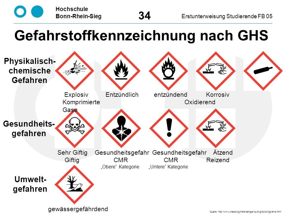 """Hochschule Bonn-Rhein-SiegErstunterweisung Studierende FB 05 34 Quelle: http://www.unece.org/trans/danger/publi/ghs/pictograms.html Physikalisch- chemische Gefahren Umwelt- gefahren Gesundheits- gefahren Explosiv Entzündlich entzündend Korrosiv Komprimierte Oxidierend Gase gewässergefährdend Sehr Giftig Gesundheitsgefahr Gesundheitsgefahr Ätzend Giftig CMR CMR Reizend """"Obere Kategorie """"Untere Kategorie Gefahrstoffkennzeichnung nach GHS"""