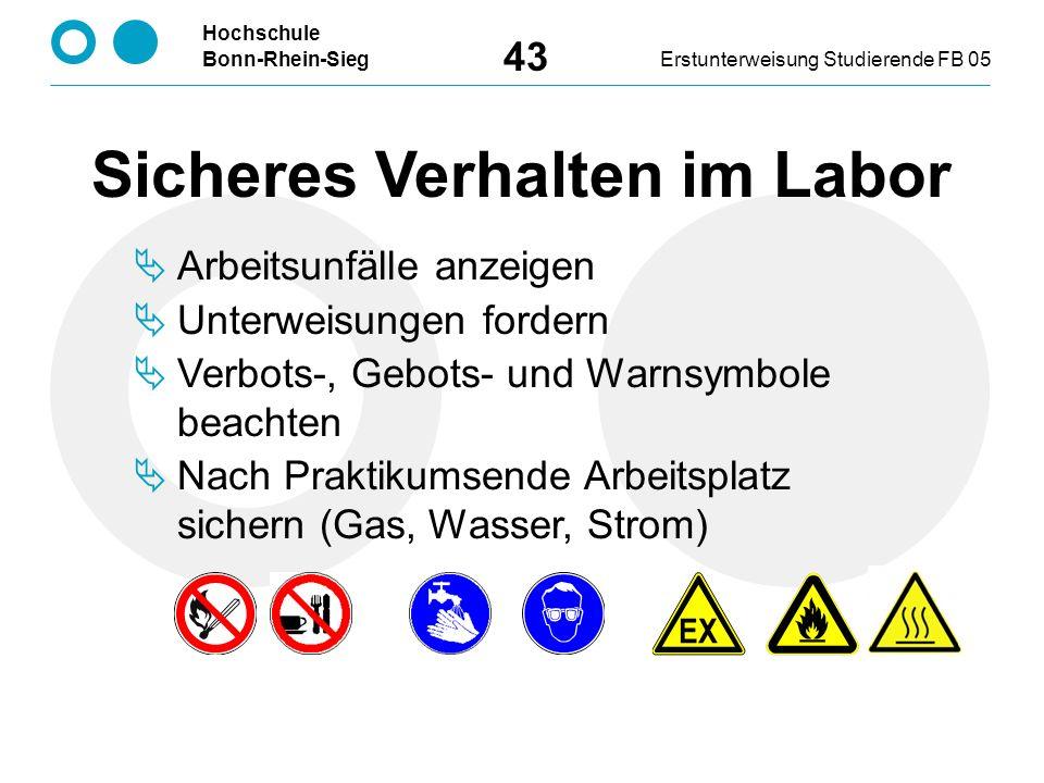 Hochschule Bonn-Rhein-SiegErstunterweisung Studierende FB 05 43 Sicheres Verhalten im Labor  Arbeitsunfälle anzeigen  Unterweisungen fordern  Verbots-, Gebots- und Warnsymbole beachten  Nach Praktikumsende Arbeitsplatz sichern (Gas, Wasser, Strom)
