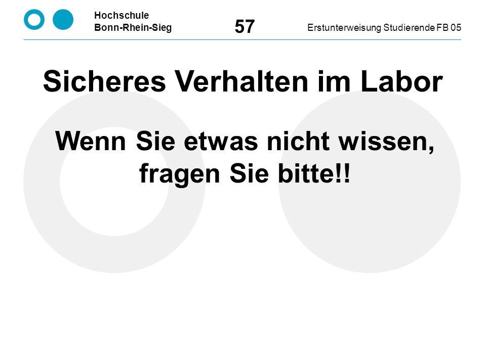 Hochschule Bonn-Rhein-SiegErstunterweisung Studierende FB 05 57 Sicheres Verhalten im Labor Wenn Sie etwas nicht wissen, fragen Sie bitte!!