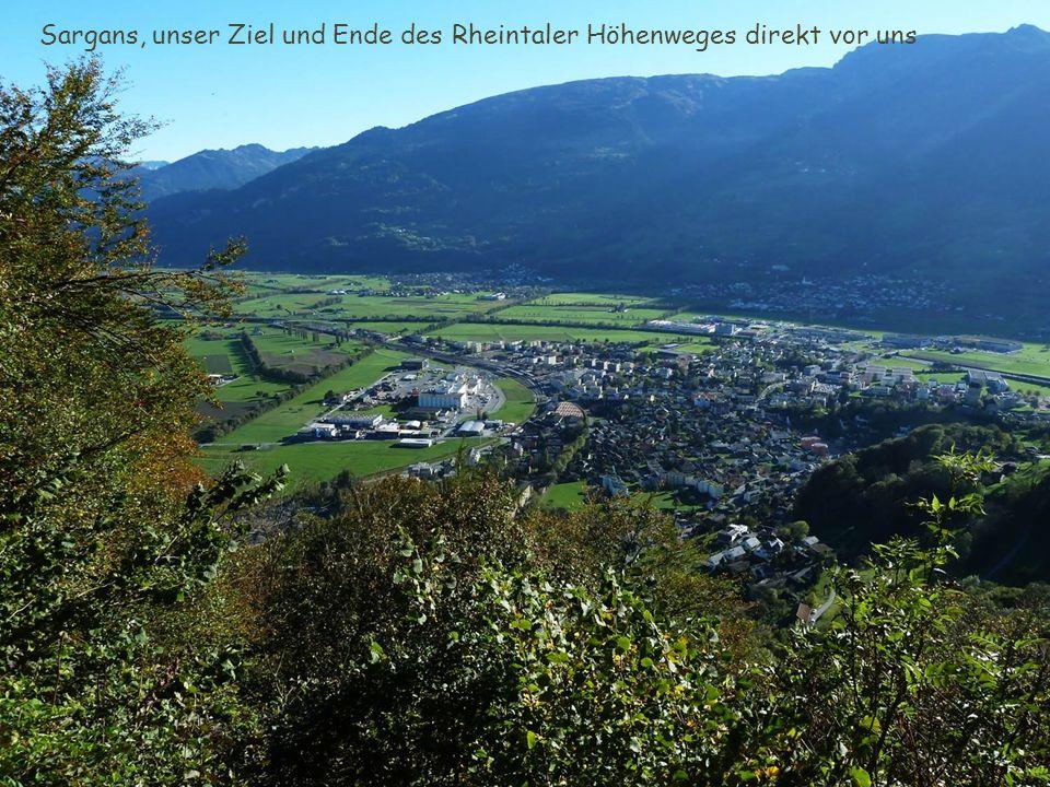 Sargans, unser Ziel und Ende des Rheintaler Höhenweges direkt vor uns