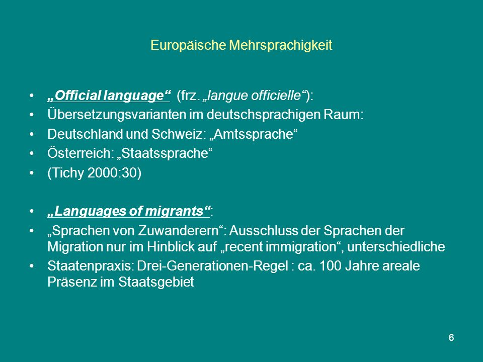 Europäische Mehrsprachigkeit CHARTER: PART I / Article 2 / Undertakings (1)Each Party undertakes to apply the provisions of Part II to all the regional or minority languages spoken within its territory and which comply with the definition in Article 1.