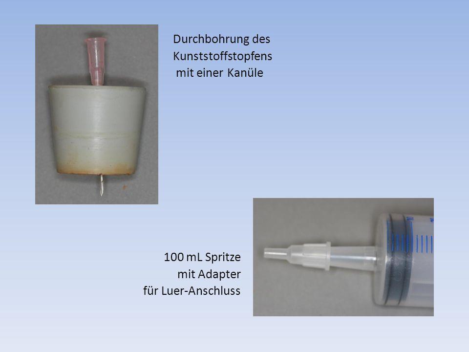 Durchbohrung des Kunststoffstopfens mit einer Kanüle 100 mL Spritze mit Adapter für Luer-Anschluss