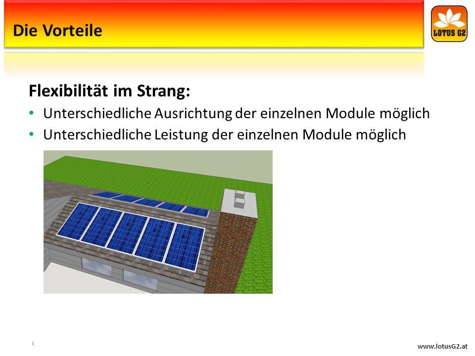 www.lotusG2.at Die Vorteile Flexibilität im Strang: Unterschiedliche Ausrichtung der einzelnen Module möglich Unterschiedliche Leistung der einzelnen