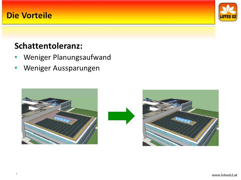 www.lotusG2.at Die Vorteile Schattentoleranz: Weniger Planungsaufwand Weniger Aussparungen 6