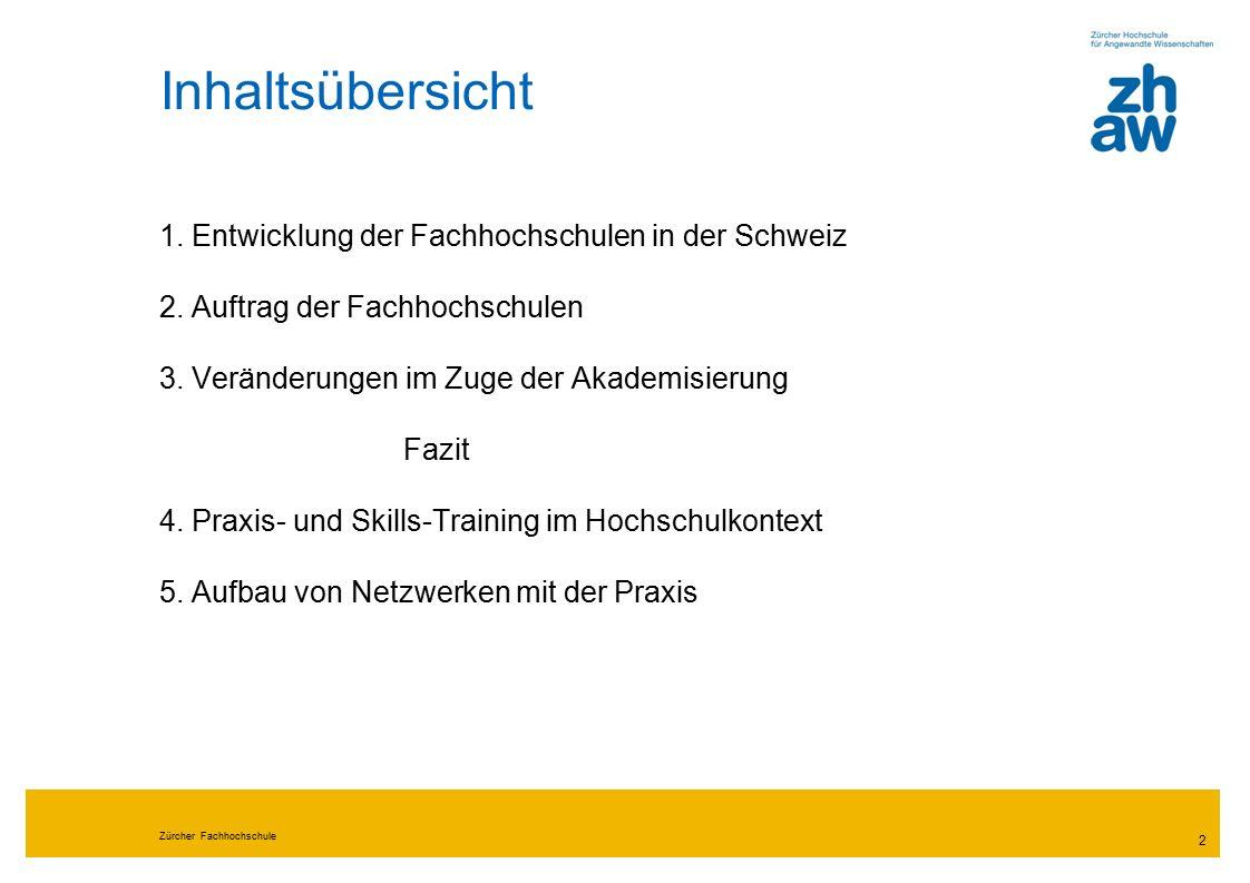 Zürcher Fachhochschule 2 Inhaltsübersicht 1. Entwicklung der Fachhochschulen in der Schweiz 2.