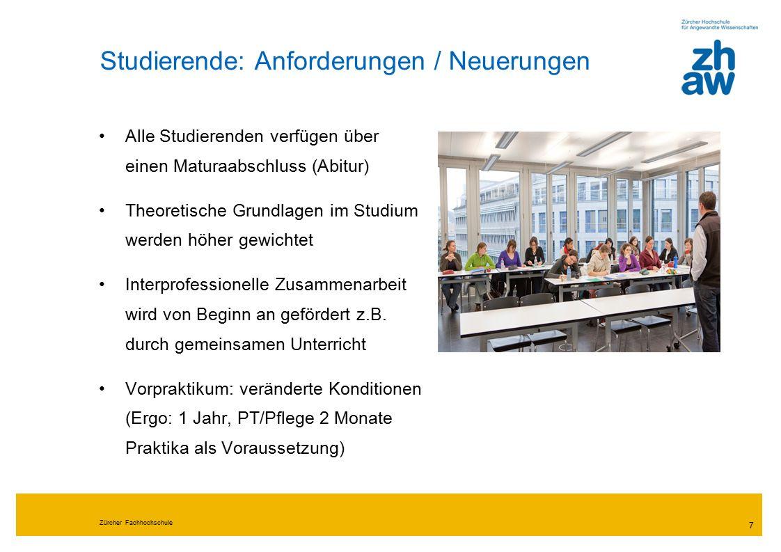 """Zürcher Fachhochschule 8 Fazit """"Professionalisierung durch Akademisierung : Denken verändert sich, wir lernen besser zu begründen, was wir tun."""