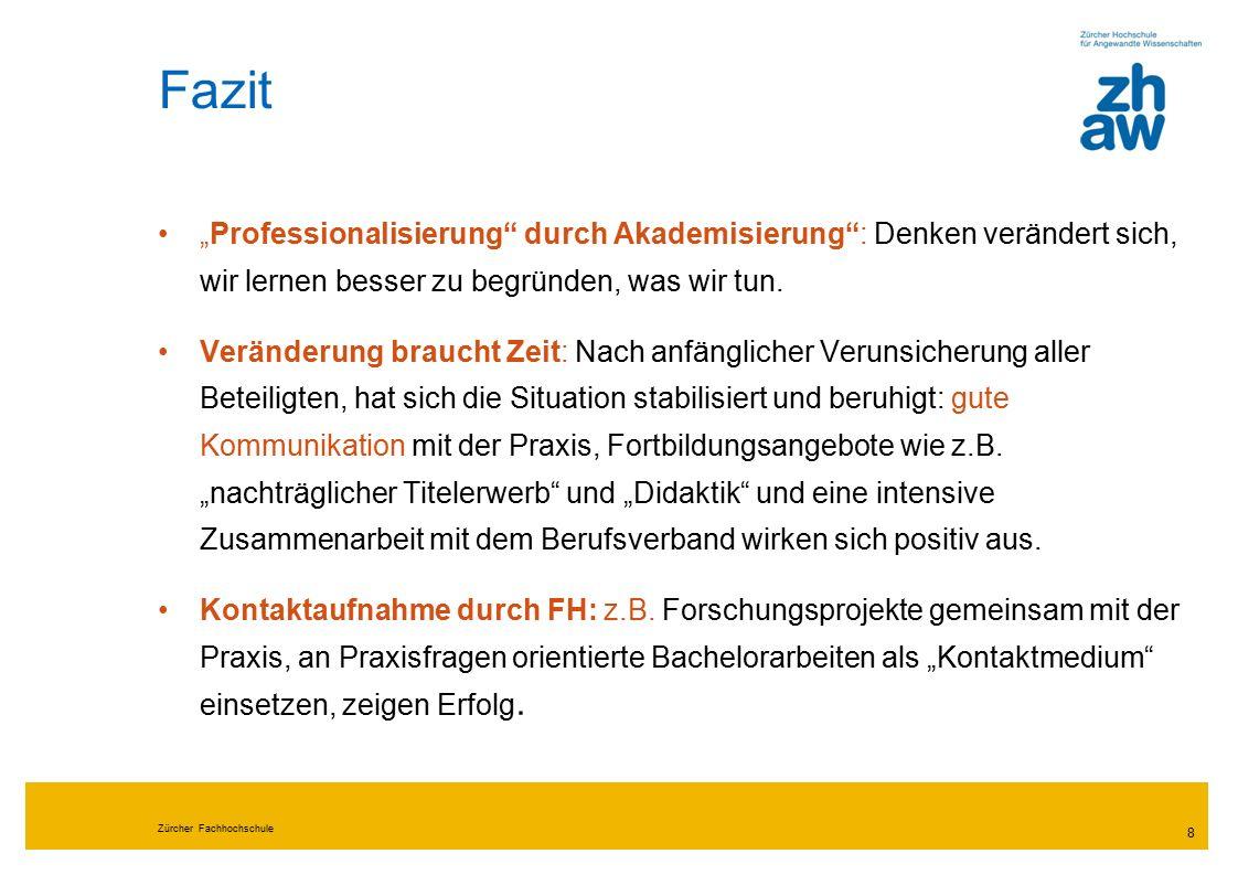 Zürcher Fachhochschule 9 Fazit Vernetzung Lehre & Forschung wird durch räumliche Nähe ermöglicht und als Bereicherung erlebt (z.B.