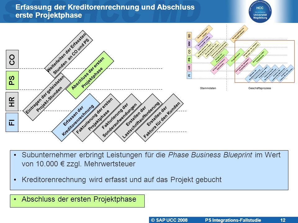 © SAP UCC 2008 PS Integrations-Fallstudie 12 Erfassung der Kreditorenrechnung und Abschluss erste Projektphase Subunternehmer erbringt Leistungen für die Phase Business Blueprint im Wert von 10.000 € zzgl.